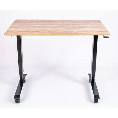 48 in. High Speed Crank Adjustable Walnut/Black Stand Up Desk