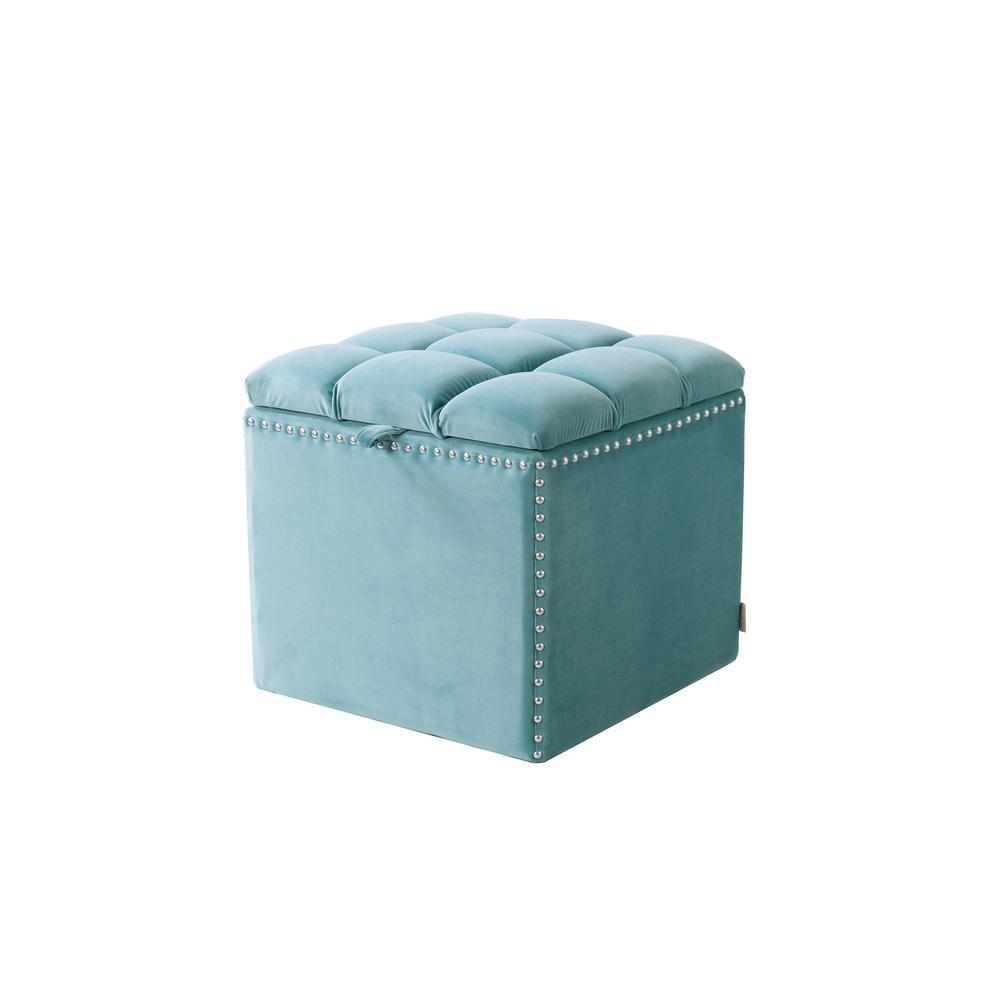 Natalia Arctic Blue Storage Ottoman