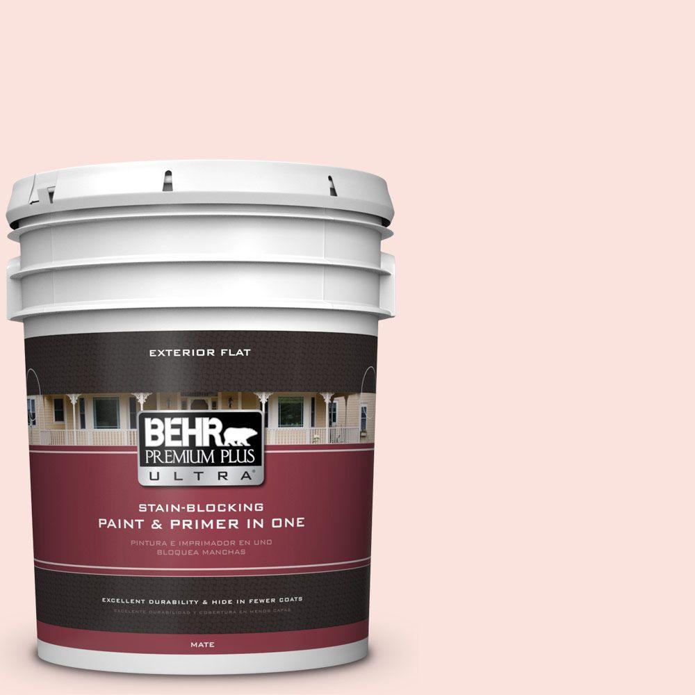 BEHR Premium Plus Ultra 5-gal. #190A-1 Soft Pink Flat Exterior Paint