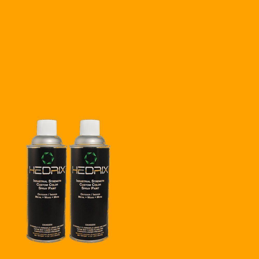 Hedrix 11 oz. Match of 300B-7 Goldfish Flat Custom Spray Paint (2-Pack)
