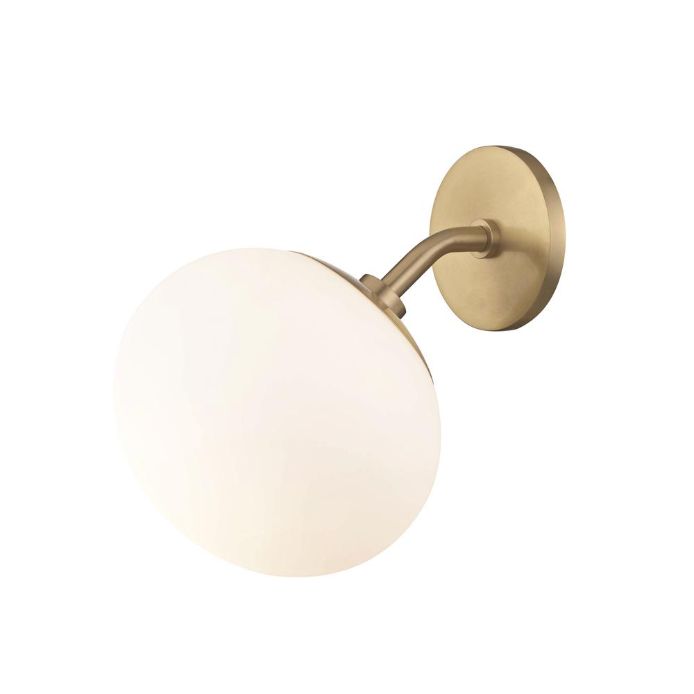 Estee 1-Light Aged Brass Wall Sconce with Opal Etched Glass