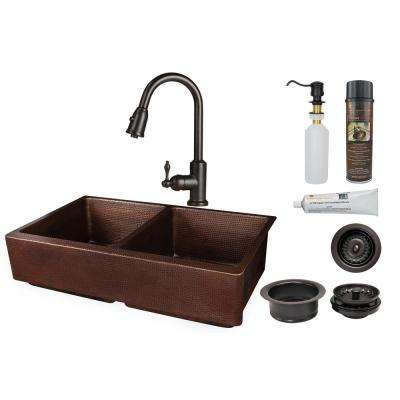 All-in-One Farmhouse Apron Front Copper 35 in. 50/50 Double Bowl Retrofit Kitchen Sink with Faucet in Oil Rubbed Bronze