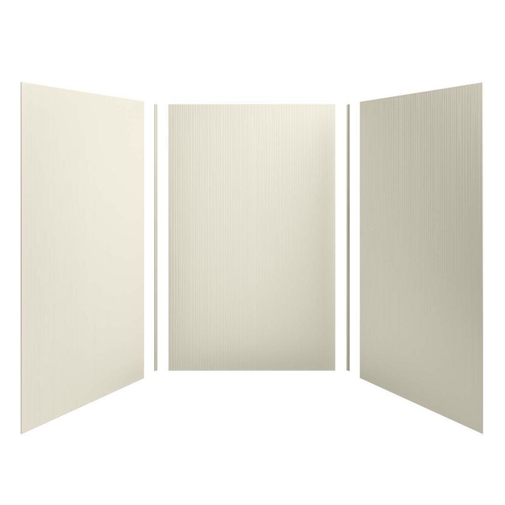 KOHLER Choreograph 60 in. x 96 in. 3-Piece Easy Up Adhesive Alcove Shower Surround Walls with Cord Texture in Almond
