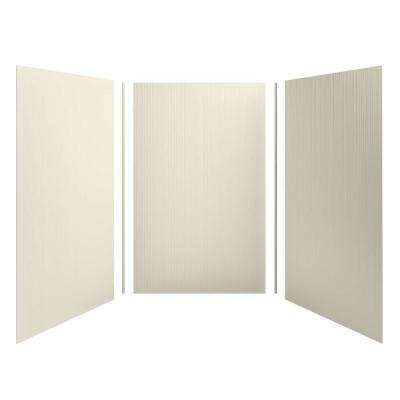 Choreograph 60 in. x 96 in. 3-Piece Easy Up Adhesive Alcove Shower Surround Walls with Cord Texture in Almond