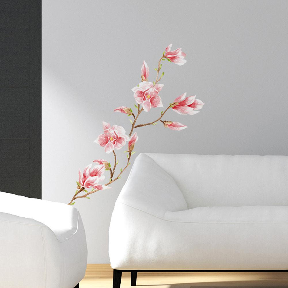 24.6 in. x 12 in. Pink Magnolia Wall Decal Set