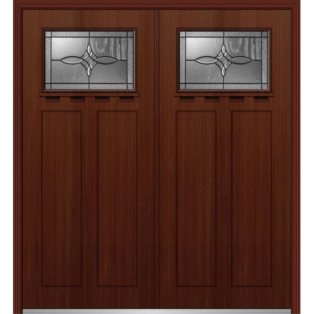 64 in. x 80 in. Lenora Left-Hand Inswing 1/4-Lite Decorative Stained Fiberglass Fir Prehung Front Door with Shelf