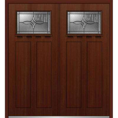 64 in. x 80 in. Lenora Left-Hand Inswing 1/4-Lite Decorative Stained Fiberglass Fir Prehung Front Door with Shelf