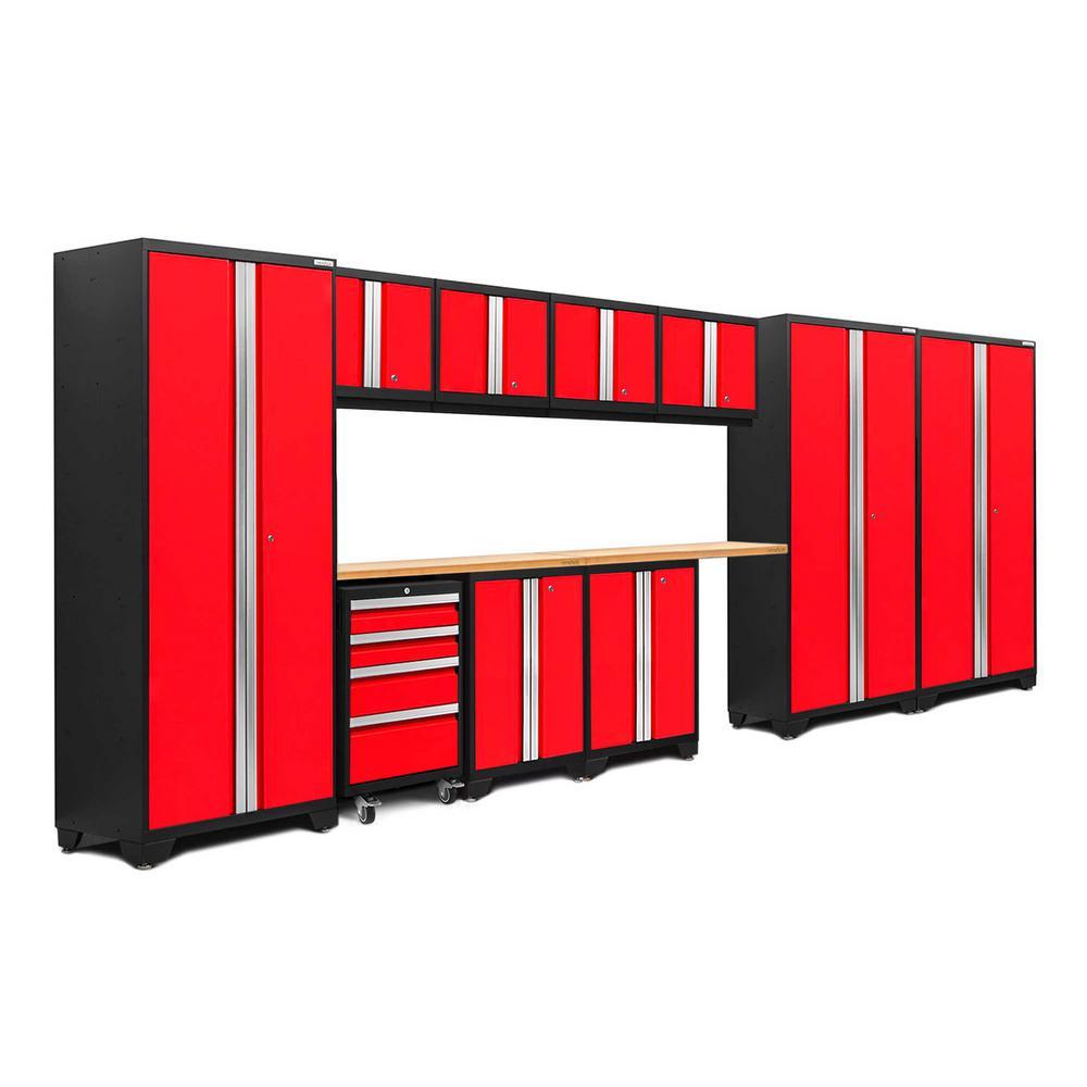 Bold 3.0 77.25 in. H x 186 in. W x 18 in. D 24-Gauge Welded Steel Bamboo Worktop Cabinet Set in Red (12-Piece)