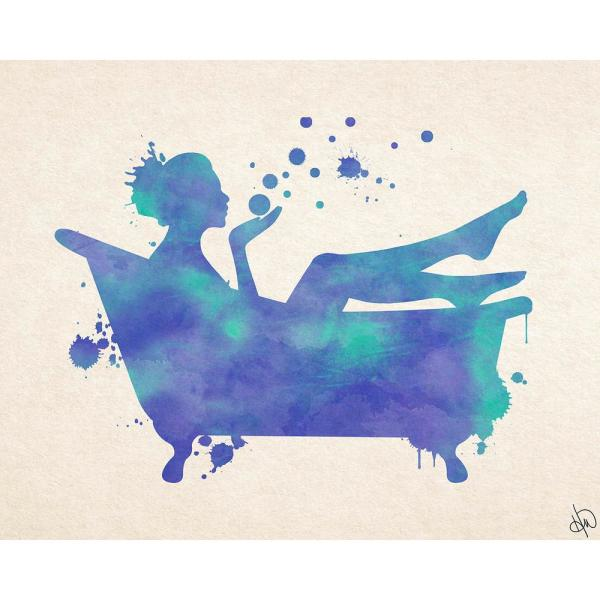 Watercolor Bath Blue Wrapped Canvas