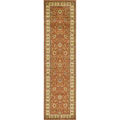 Agra Brick Red 3 ft. x 10 ft. Runner Rug Rug