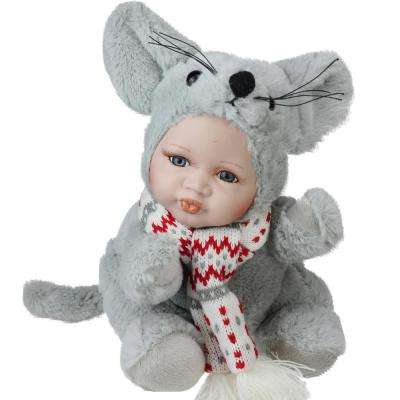 9 in. Porcelain Pucker Up Baby in Mouse Costume Collectible Christmas Doll