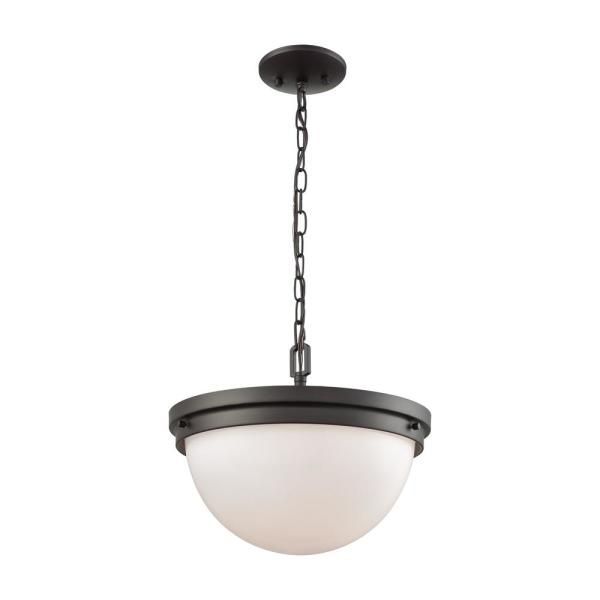 Beckett 3-Light Oil Rubbed Bronze with Opal White Glass Pendant