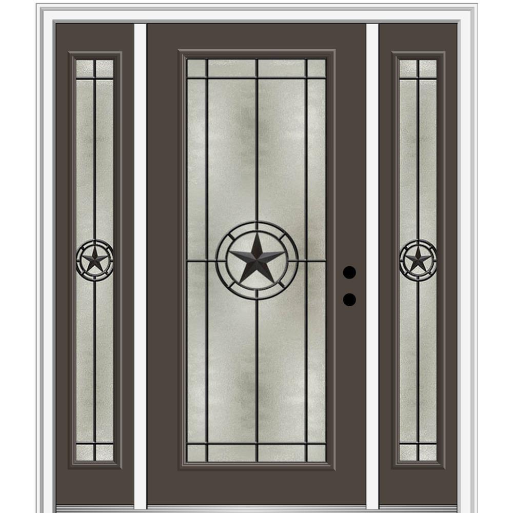 Mmi Door Elegant Star 64 In X 80 In Left Hand Inswing Full Lite Decorative Glass Brown Painted Fiberglass Prehung Front Door Z03745699l The Home Depot