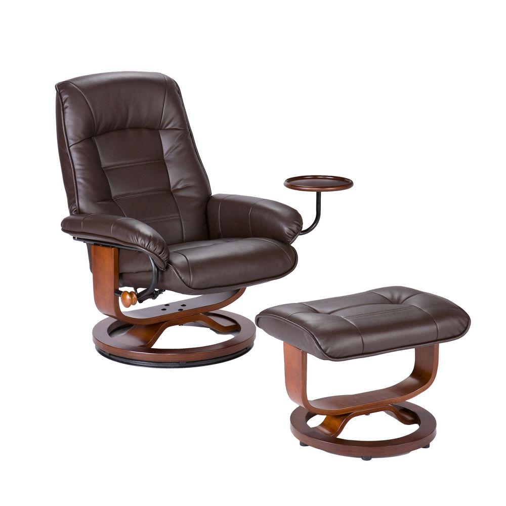 Southern Enterprises Leather Recliner and Ottoman Set in Cafe Brown