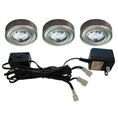 Enviro Satin Nickel Metal LED Puck Light (3-Pack)