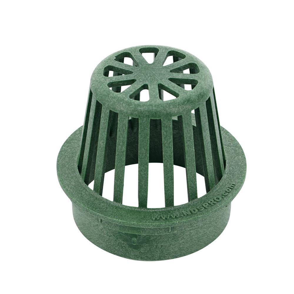 4 in. Plastic Round Atrium Drainage Grate in Green
