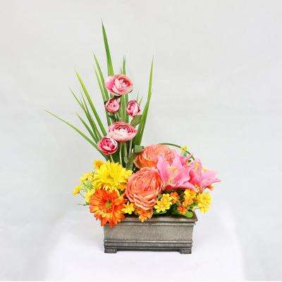23 in. Indoor Artificial Flower Arrangement in Planter