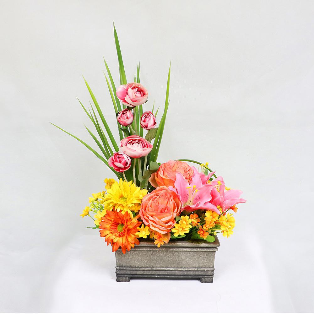 Indoor Artificial Flower Arrangement In Planter 302 Tb816 The Home Depot