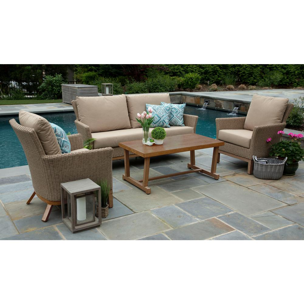Canopy Wicker Deep Seating Set Canvas Heather Beige Cushio