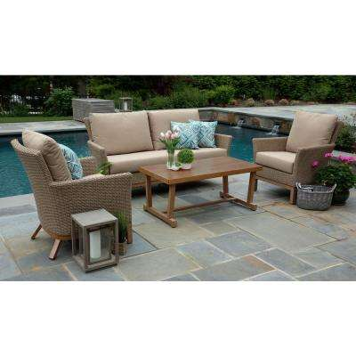 Cottonwood 4-Piece Resin Wicker Patio Deep Seating Set with Sunbrella Canvas Heather Beige Cushions