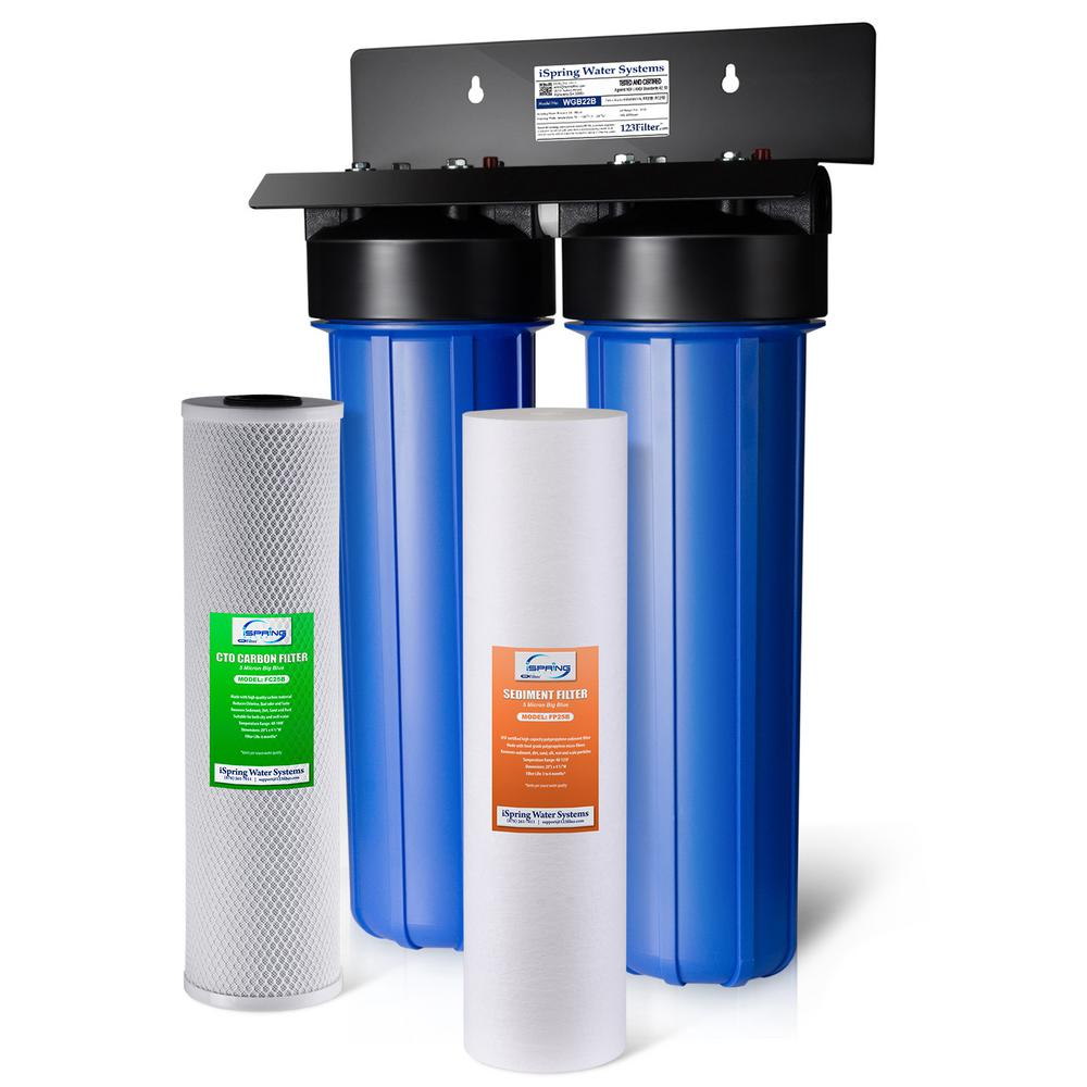 ISPRING WGB22B 2-Stage 100k Gal  Whole House Water Filter System w/ Big  Blue Sediment and Carbon Block Filters
