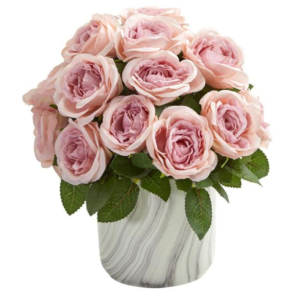 Nearly Natural Indoor Rose Artificial Arrangement in Marble Vase 1810-PK