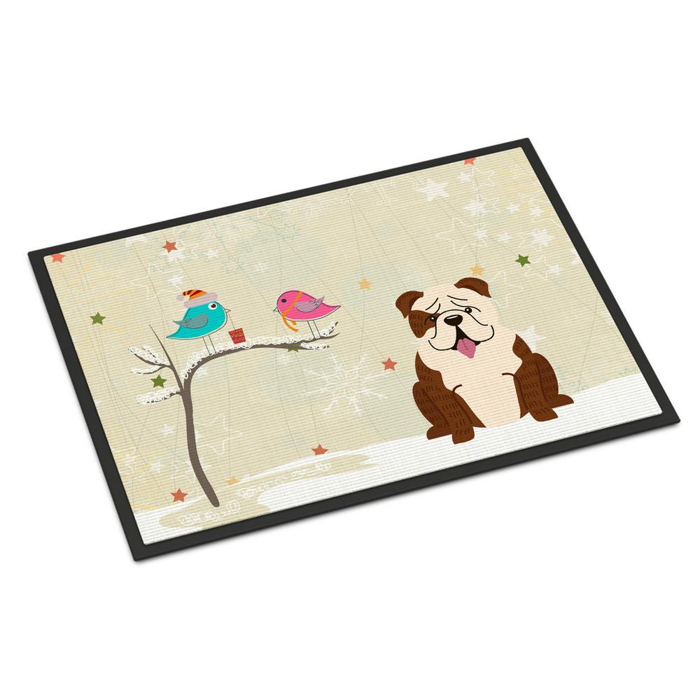 18 in. x 27 in. Indoor/Outdoor Christmas Presents between Friends English Bulldog Brindle White Door Mat