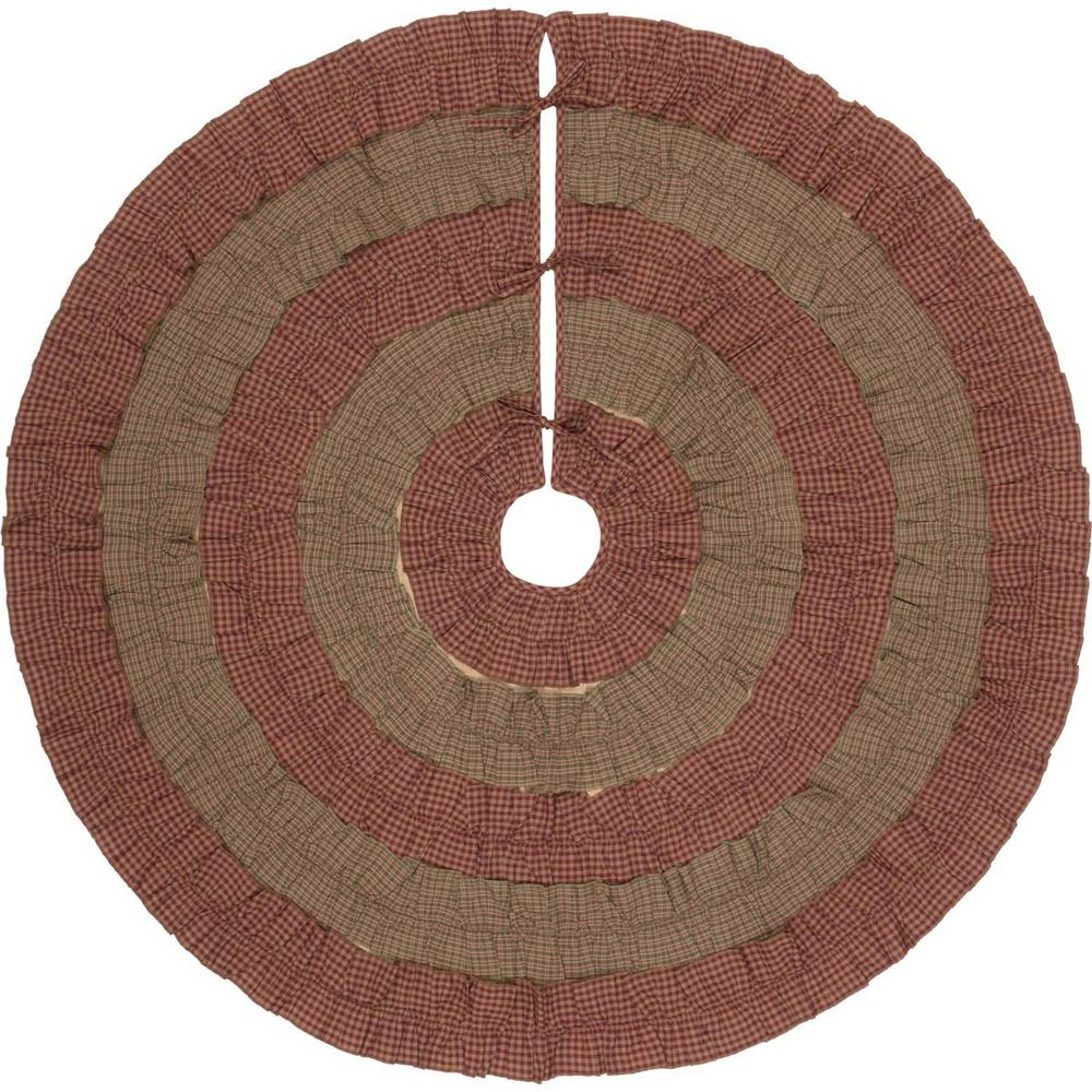 Sequoia Burgundy Red Rustic Christmas Decor Tree Skirt