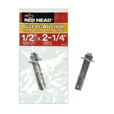 1/2 in. x 2-1/4 in. Zinc-Plated Steel Hex-Nut-Head Indoor Sleeve Anchor