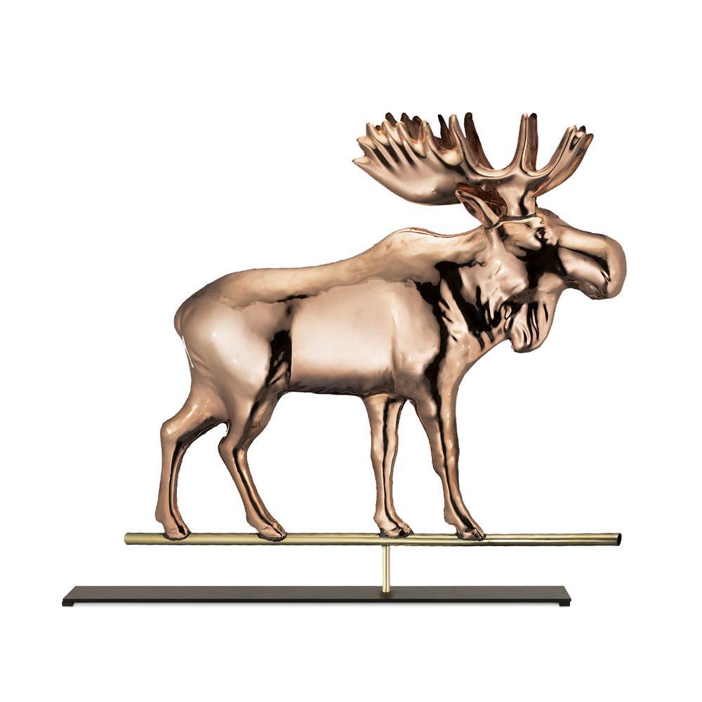 Moose Pure Copper Weathervane Sculpture on Iron Mantel Stand: Home Decor