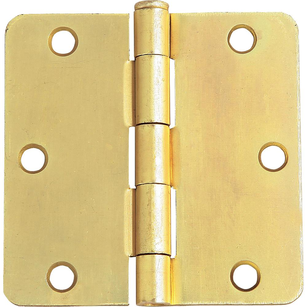 Design House Design House 3-1/2 in. x 1/4 in. Radius Satin Brass Door Hinge Value Pack (3 per Pack)