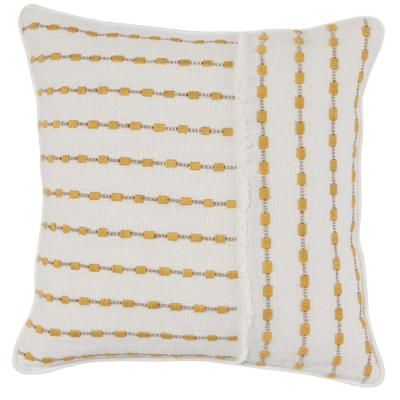 Katia Ivory Sunflower 20 in. x 20 in. Linen Frayed Embroidery Decorative Pillow