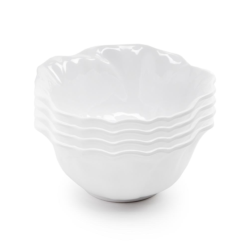 Peony 4-Piece 6.5 in. White Melamine Cereal Bowl Set