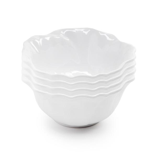 Q Squared Peony 4-Piece 6.5 in. White Melamine Cereal Bowl Set