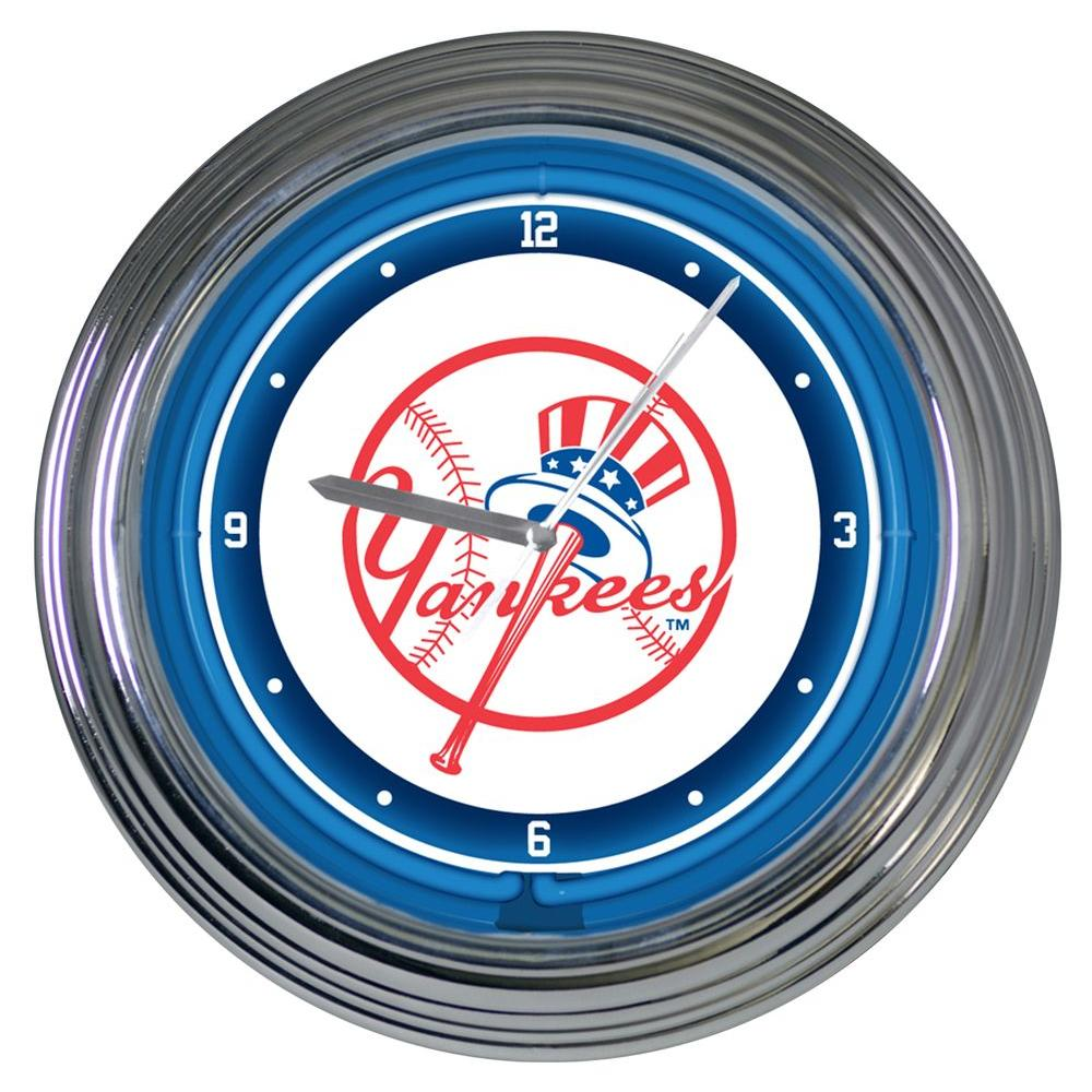 The Memory Company 15 in. MLB License New York Yankees Neon Wall Clock