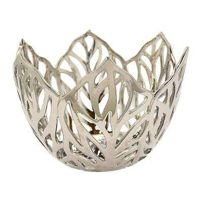 7.75 in. Decorative Silver Ceramic Leaf Bowl with Glossy