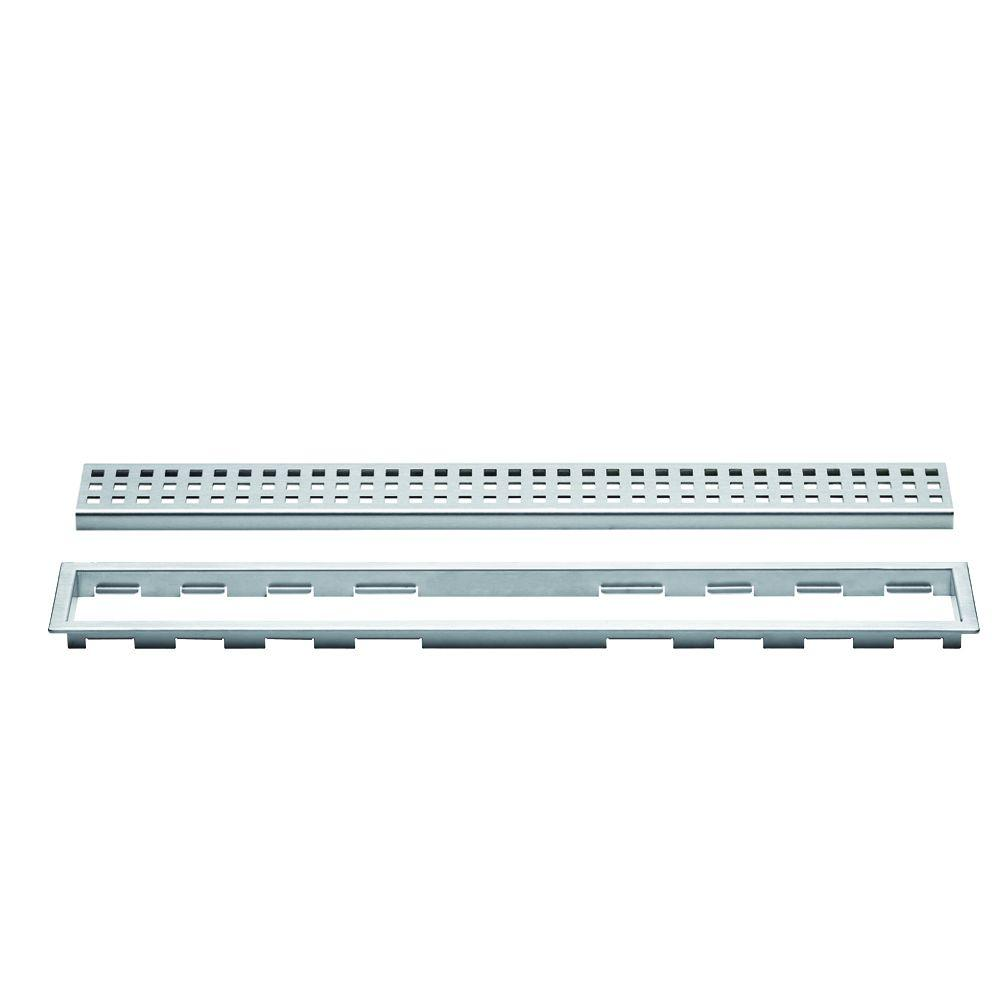 Kerdi-Line Brushed Stainless Steel 44 in. Metal Perforated Drain Grate Assembly