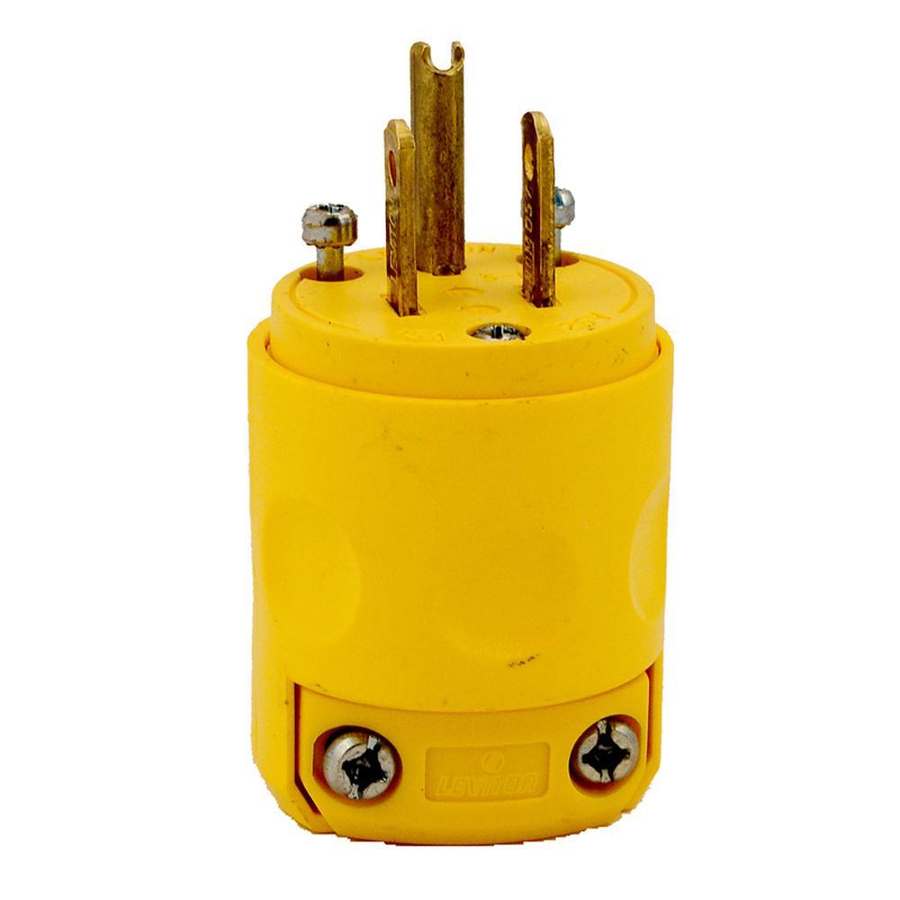 Leviton 15 Amp 125-volt Grounding Plug  Yellow-000-515pv-000