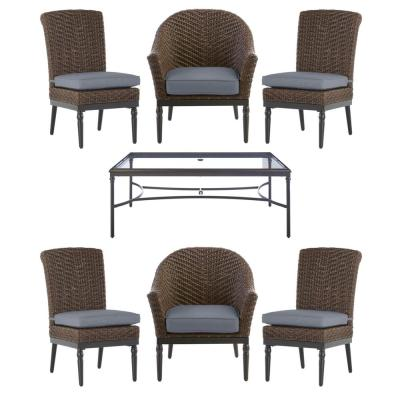Camden Dark Brown 7-Piece Wicker Outdoor Patio Dining Set with CushionGuard Steel Blue Cushions