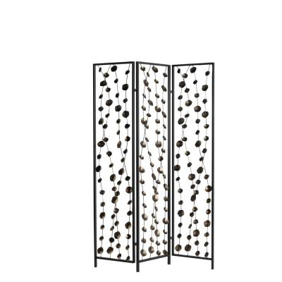 3-Panel Bronze Leaf and Black Metal Screen Room Divider