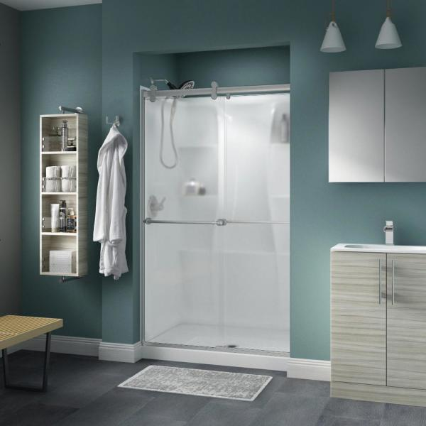 Reviews For Delta Mandara 60 X 58 3 4 In Frameless Contemporary Sliding Bathtub Door In Chrome With Rain Glass 2439096 The Home Depot