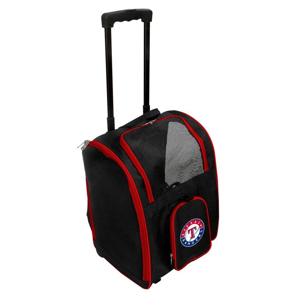 Denco MLB Texas Rangers Pet Carrier Premium Bag with wheels in