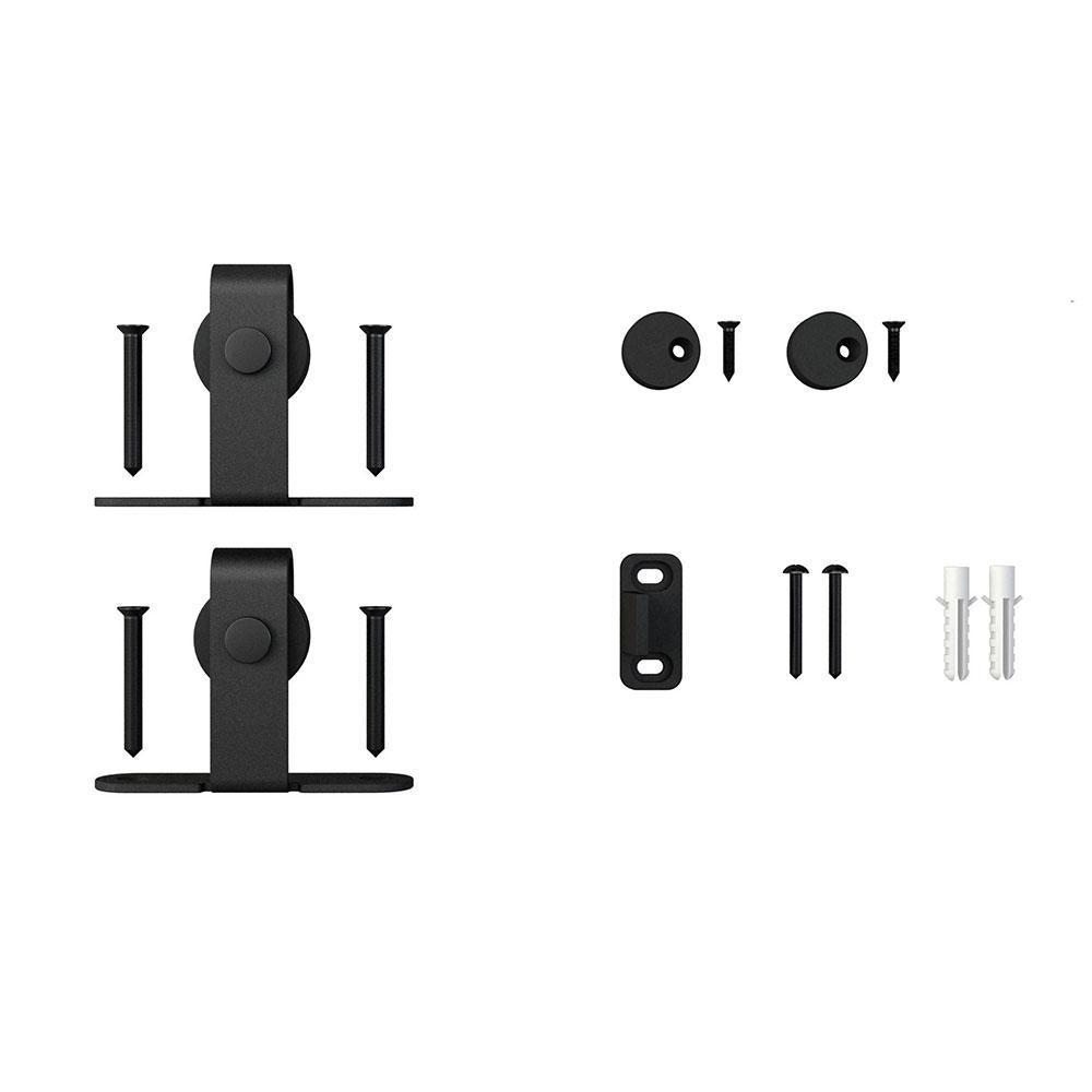 Black Top Mount Roller Kit for Mini Sliding Furniture Barn Doors