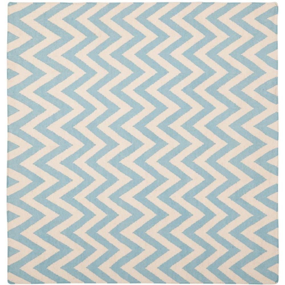 Dhurries Blue/Ivory 8 ft. x 8 ft. Square Area Rug
