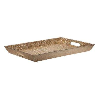 18 in. L Gold Glitter Tray with Cutout Handle