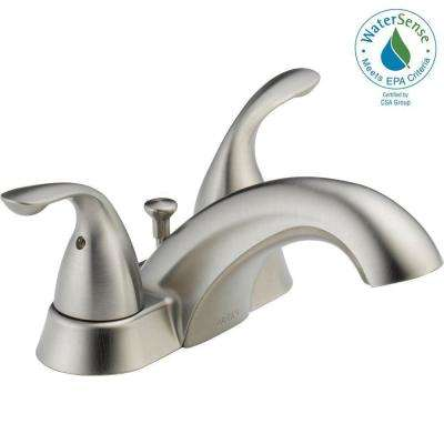 Classic 4 in. Centerset 2-Handle Bathroom Faucet with Metal Drain Assembly in Stainless