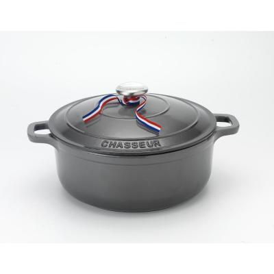 French Enameled 5.5 qt. Round Cast Iron Dutch Oven in Caviar Grey with Lid