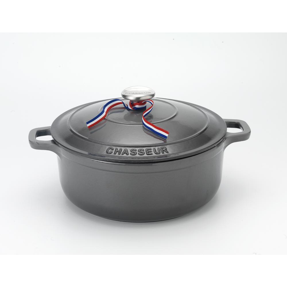 5.5 Qt. Caviar-Grey Enameled Cast Iron Round Dutch Oven