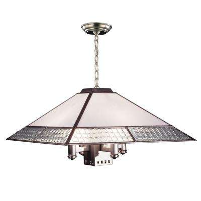 Fused Glass 5-Light Satin Nickel Chandelier with Shade