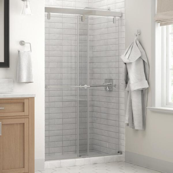 Lyndall 48 x 71-1/2 in. Frameless Mod Soft-Close Sliding Shower Door in Chrome with 1/4 in. (6mm) Clear Glass